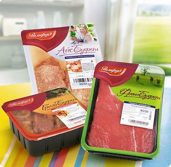 Мясные полуфабрикаты, упакованные на оборудовании Hefestus SLB. Производитель - Рамфуд